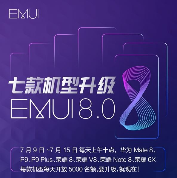 EMUI 8.0 for Huawei P9 Honor 8 Mate 8 Honor V8